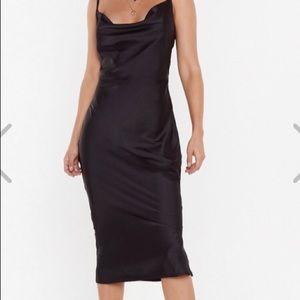 Boohoo Satin Cowl Neck Midi Slip Dress SZ 2 NWT